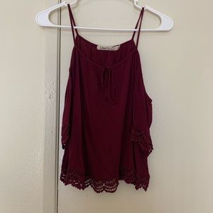 Burgundy laced top.